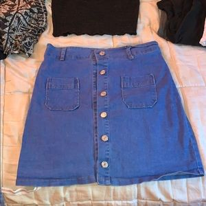 Jean Pencil Skirt with Buttons
